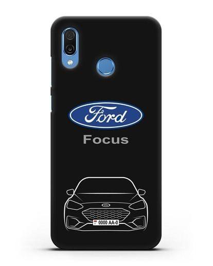 Чехол Ford Focus с автомобильным номером силикон черный для Honor Play