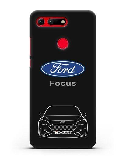 Чехол Ford Focus с автомобильным номером силикон черный для Honor View 20