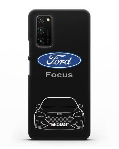 Чехол Ford Focus с автомобильным номером силикон черный для Honor View 30 Pro