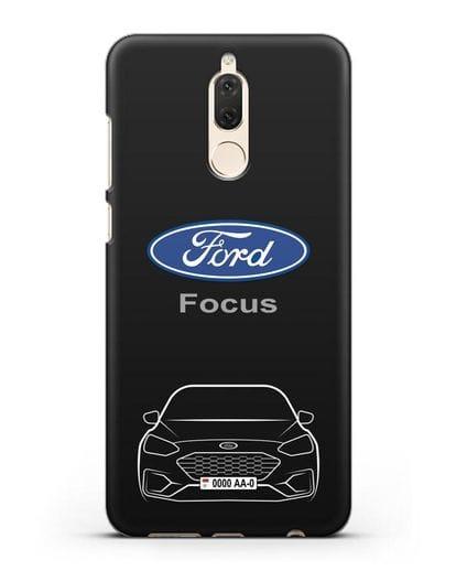 Чехол Ford Focus с автомобильным номером силикон черный для Huawei Mate 10 Lite