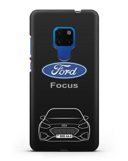 Чехол Ford Focus с автомобильным номером силикон черный для Huawei Mate 20