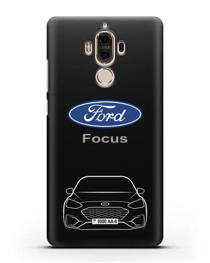 Чехол Ford Focus с автомобильным номером силикон черный для Huawei Mate 9