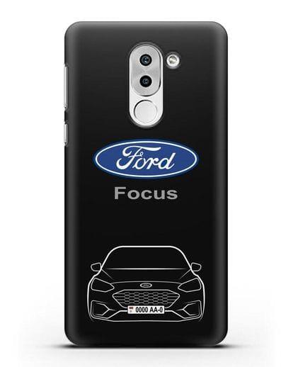 Чехол Ford Focus с автомобильным номером силикон черный для Huawei Mate 9 Lite