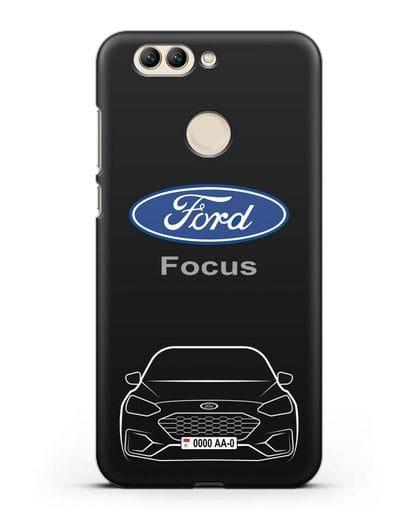 Чехол Ford Focus с автомобильным номером силикон черный для Huawei Nova 2 Plus
