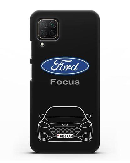 Чехол Ford Focus с автомобильным номером силикон черный для Huawei Nova 7i