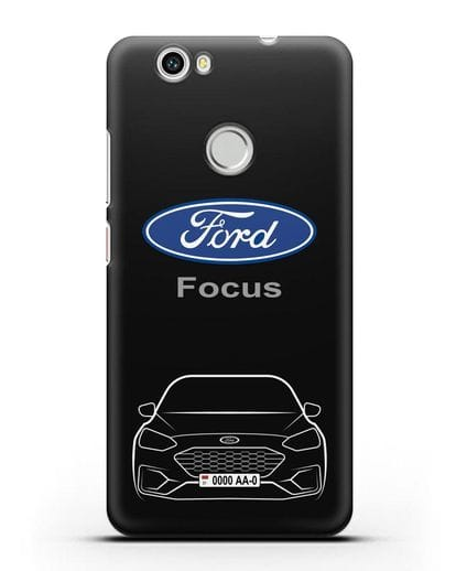 Чехол Ford Focus с автомобильным номером силикон черный для Huawei Nova