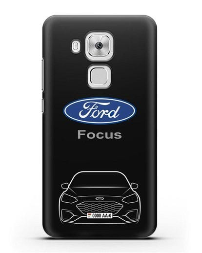 Чехол Ford Focus с автомобильным номером силикон черный для Huawei Nova Plus