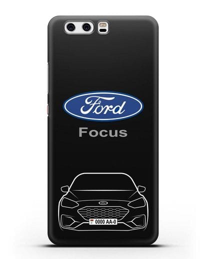 Чехол Ford Focus с автомобильным номером силикон черный для Huawei P10