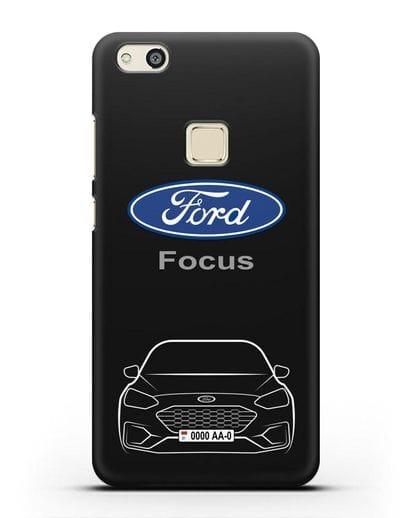 Чехол Ford Focus с автомобильным номером силикон черный для Huawei P10 Lite