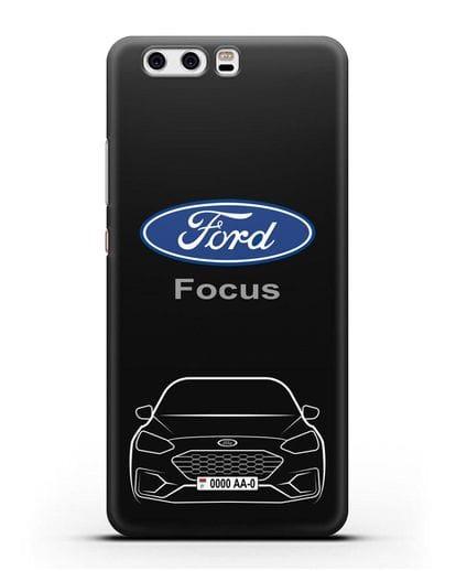 Чехол Ford Focus с автомобильным номером силикон черный для Huawei P10 Plus