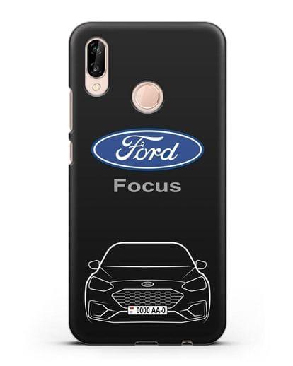 Чехол Ford Focus с автомобильным номером силикон черный для Huawei P20 Lite