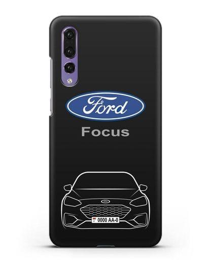 Чехол Ford Focus с автомобильным номером силикон черный для Huawei P20 Pro