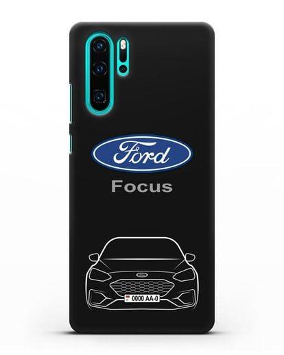 Чехол Ford Focus с автомобильным номером силикон черный для Huawei P30 Pro