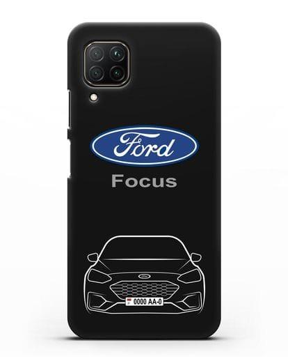 Чехол Ford Focus с автомобильным номером силикон черный для Huawei P40 lite