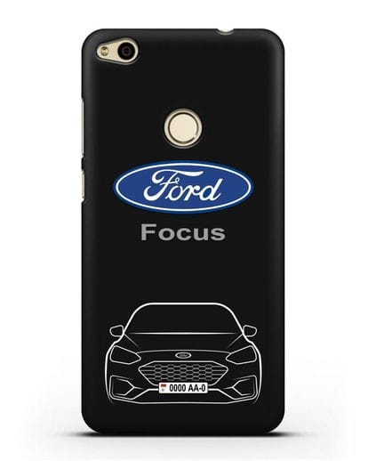 Чехол Ford Focus с автомобильным номером силикон черный для Huawei P8 Lite 2017