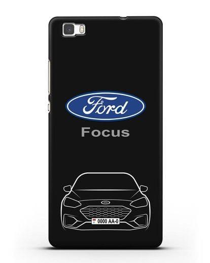Чехол Ford Focus с автомобильным номером силикон черный для Huawei P8 Lite