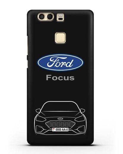 Чехол Ford Focus с автомобильным номером силикон черный для Huawei P9