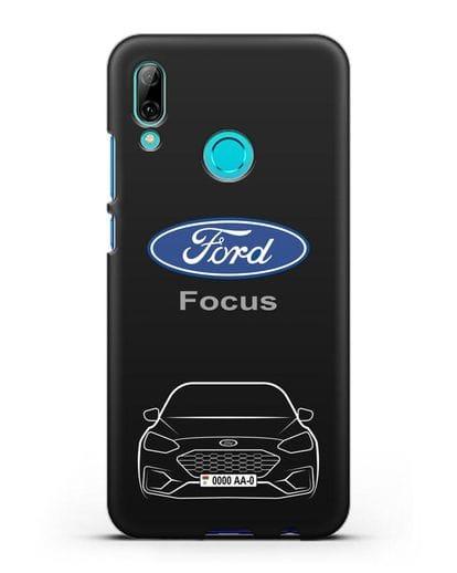 Чехол Ford Focus с автомобильным номером силикон черный для Huawei P Smart 2019