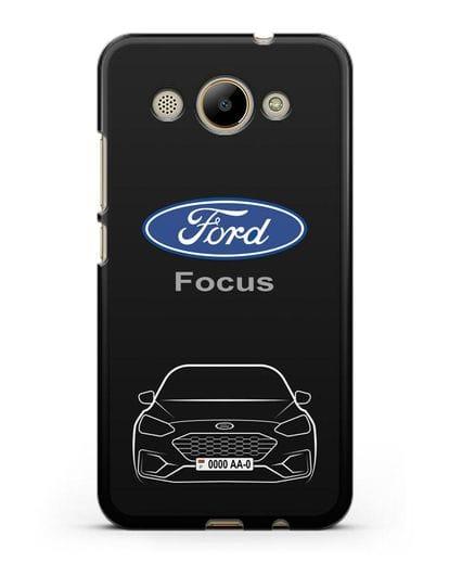 Чехол Ford Focus с автомобильным номером силикон черный для Huawei Y3 2017