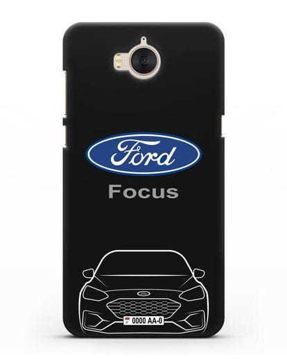 Чехол Ford Focus с автомобильным номером силикон черный для Huawei Y5 2017