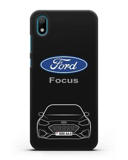 Чехол Ford Focus с автомобильным номером силикон черный для Huawei Y5 2019