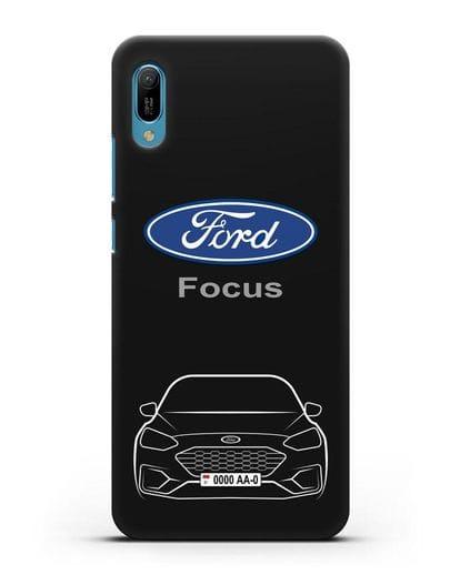 Чехол Ford Focus с автомобильным номером силикон черный для Huawei Y6 2019