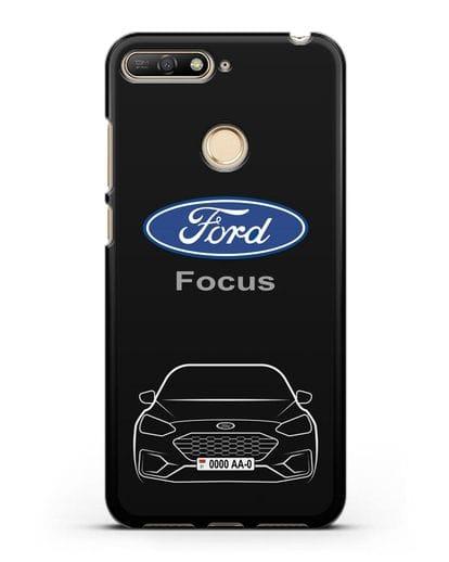 Чехол Ford Focus с автомобильным номером силикон черный для Huawei Y6 Prime 2018