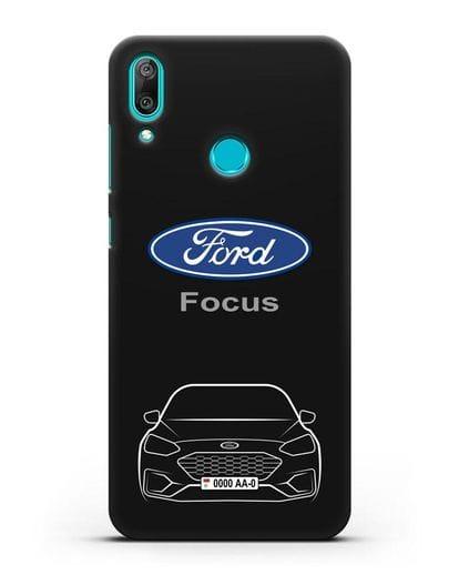 Чехол Ford Focus с автомобильным номером силикон черный для Huawei Y7 2019