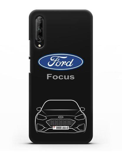 Чехол Ford Focus с автомобильным номером силикон черный для Huawei Y9s