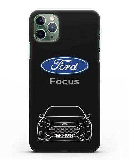 Чехол Ford Focus с автомобильным номером силикон черный для iPhone 11 Pro Max