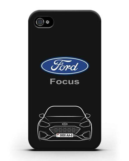 Чехол Ford Focus с автомобильным номером силикон черный для iPhone 4/4s