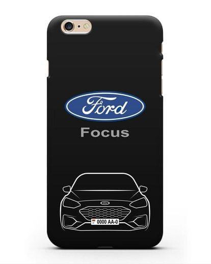 Чехол Ford Focus с автомобильным номером силикон черный для iPhone 6 Plus