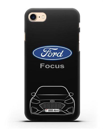 Чехол Ford Focus с автомобильным номером силикон черный для iPhone 7