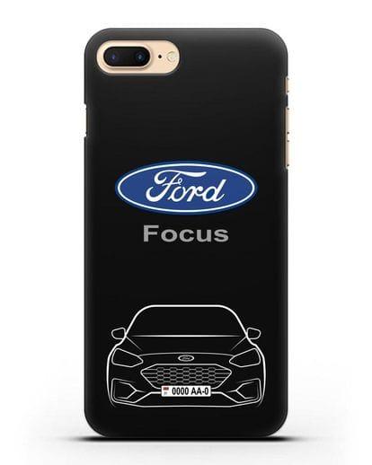 Чехол Ford Focus с автомобильным номером силикон черный для iPhone 8 Plus