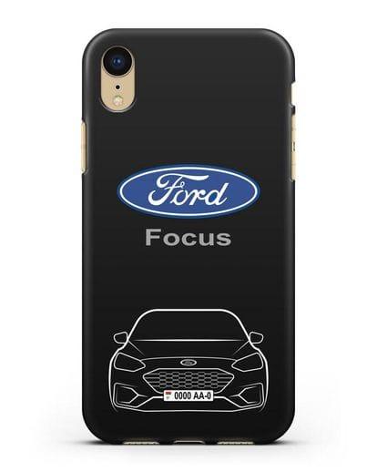 Чехол Ford Focus с автомобильным номером силикон черный для iPhone XR
