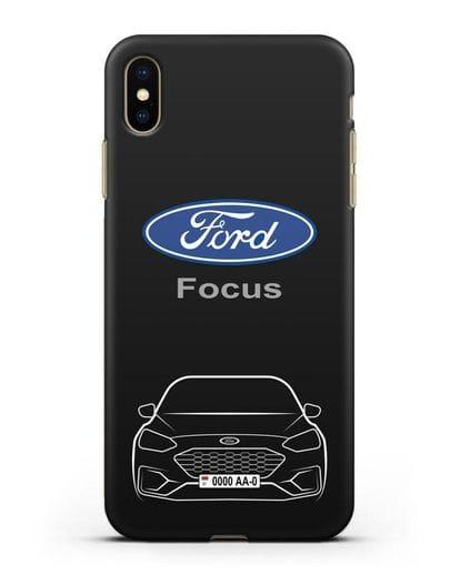 Чехол Ford Focus с автомобильным номером силикон черный для iPhone XS Max