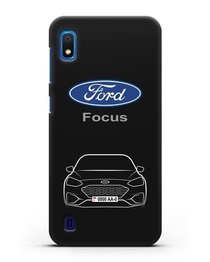 Чехол Ford Focus с автомобильным номером силикон черный для Samsung Galaxy A10 [SM-A105F]