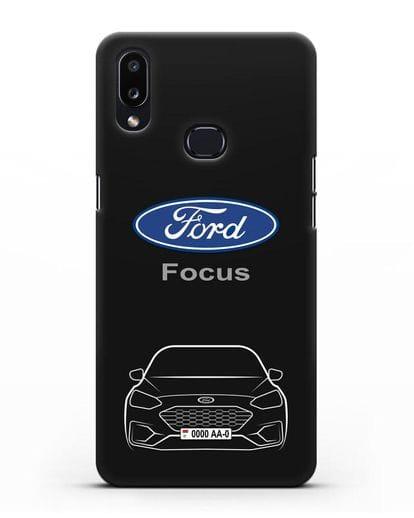 Чехол Ford Focus с автомобильным номером силикон черный для Samsung Galaxy A10s [SM-F107F]