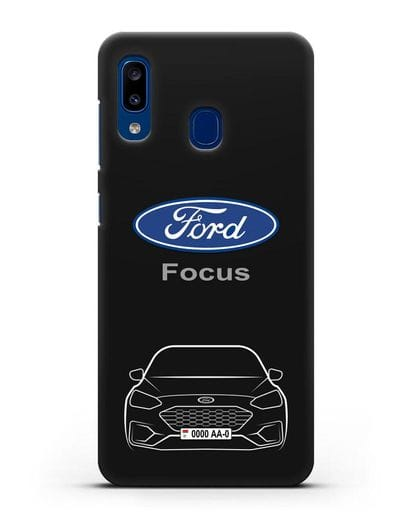 Чехол Ford Focus с автомобильным номером силикон черный для Samsung Galaxy A20 [SM-A205FN]