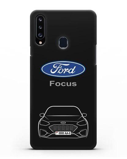Чехол Ford Focus с автомобильным номером силикон черный для Samsung Galaxy A20s [SM-A207FN]
