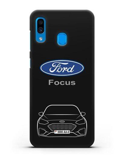 Чехол Ford Focus с автомобильным номером силикон черный для Samsung Galaxy A30 [SM-A305FN]