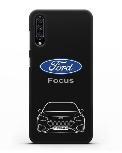 Чехол Ford Focus с автомобильным номером силикон черный для Samsung Galaxy A30s [SM-A307FN]