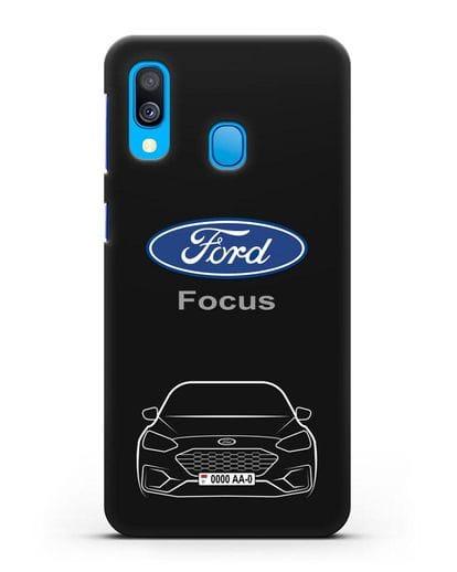 Чехол Ford Focus с автомобильным номером силикон черный для Samsung Galaxy A40 [SM-A405F]