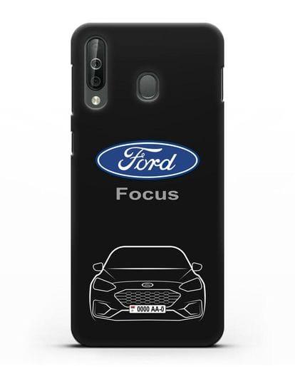 Чехол Ford Focus с автомобильным номером силикон черный для Samsung Galaxy A40s [SM-A507FN]