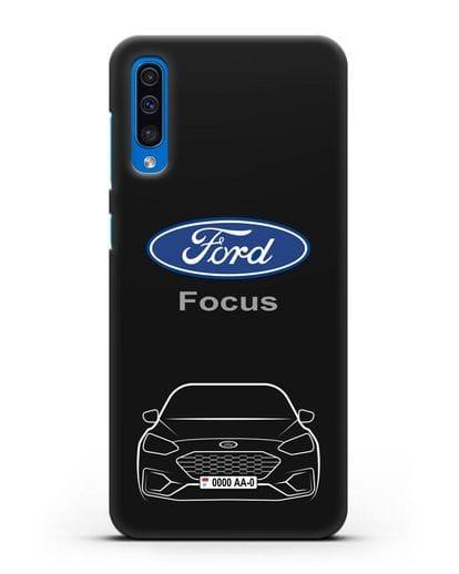 Чехол Ford Focus с автомобильным номером силикон черный для Samsung Galaxy A50 [SM-A505F]