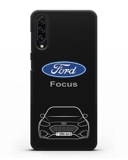 Чехол Ford Focus с автомобильным номером силикон черный для Samsung Galaxy A50s [SM-F507FN]