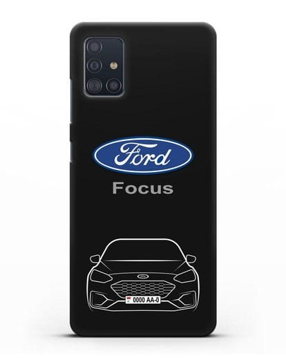 Чехол Ford Focus с автомобильным номером силикон черный для Samsung Galaxy A51 [SM-A515F]