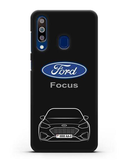 Чехол Ford Focus с автомобильным номером силикон черный для Samsung Galaxy A60 [SM-A606F]