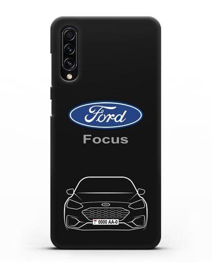 Чехол Ford Focus с автомобильным номером силикон черный для Samsung Galaxy A70s [SM-A707F]