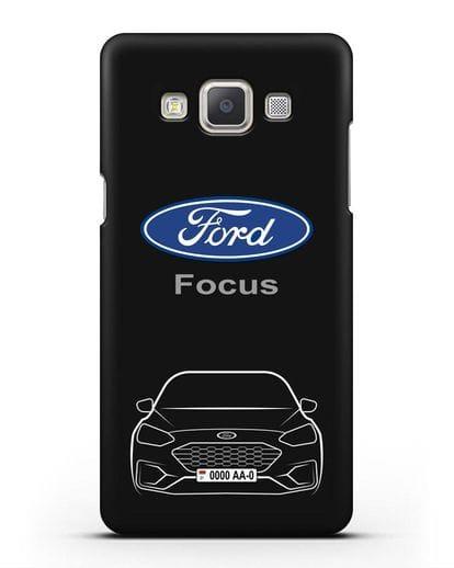 Чехол Ford Focus с автомобильным номером силикон черный для Samsung Galaxy A7 2015 [SM-A700F]